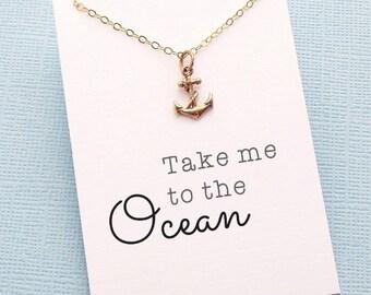 Boho Summer Necklace | Anchor Necklace, Best Friend Gift, Best Friend Necklace, Gift for Bestfriend, BFF, Bestie, Best Friend Birthday | X16