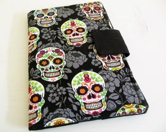 Sugar Skull Kindle Fire Cover, Day of the Dead Skulls Kindle 3 Case, Book Style