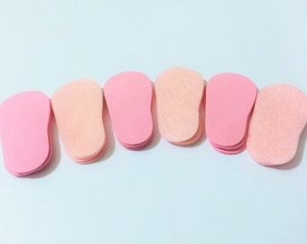 """2mm Doll Soles, 24-Pack Doll Soles, 12-Pink 2mm Foam Doll shoe Soles, 12-Pink Felt Doll shoe Soles, 18"""" die cut doll soles, free shipping"""
