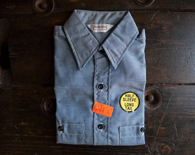 VIntage Brand New With Tags Deadstock Big Mac Short Sleeve Cotton Blend Chambray Size M Union Made in USA