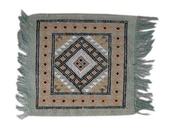 Door Mat or Seat Mat Pure Wool Kilim Rug - Berber Tribe Design 42 x 42cm