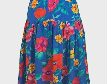 vintage bright floral skirt. blue red orange green - floral tropical flower leaf print pattern - summer midi skirt - 90s 1990s 80s 1980s