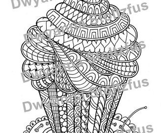 Cupcake Coloring Page JPG