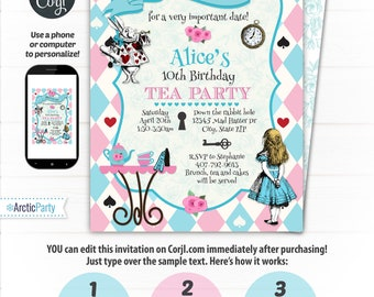 Alice in Wonderland Invitations - Alice in Wonderland Tea Party - Alice in Wonderland Birthday Invitations - INSTANT ACCESS - Edit NOW!