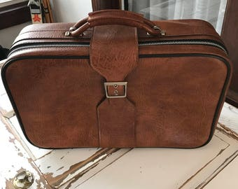 Vintage Luggage 1980's Suitcase Brown Leather Like