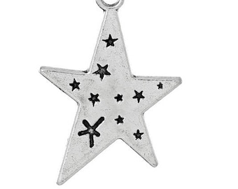Set of 10 charms multiple Star Silver 3cm (E48)
