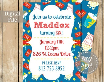 Printable Custom Movie Party Invitation - Movie Theater Theme - Ticket Drinks Popcorn Party - Custom Movie Party Invitation - Any Age