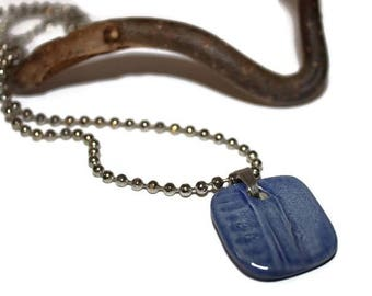 Mens necklace, porcelain pendant, boho, rocker, one of a kind, modern, gift for boyfriend, denim, one of a kind,  blue,  free shipping