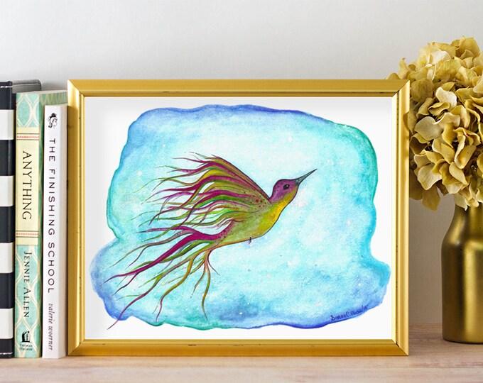 Watercolor Hummingbird Painting -  Aqua Nursery Wall Art -  Watercolour Hummingbird Print - Bird Nursery Poster - Blue Bird Art Print 8 x 10