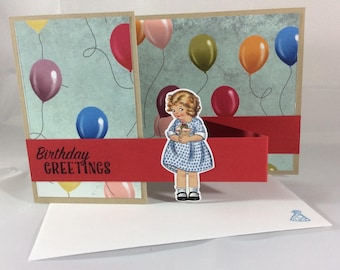 girl, birthday, balloons, card, stampin up