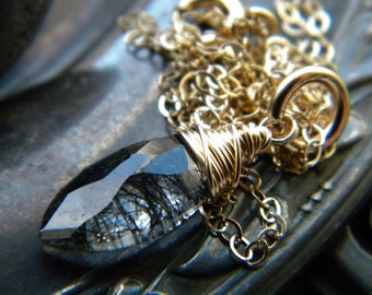 Black rutilated quartz marquise briolette gold filled wire wrapped necklace - handmade semiprecious gemstone jewelry
