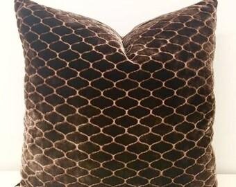 Luxury Brown Velvet Pillow Cover, Brown Pillows, Lumbar Pillow, Decorative Throw Pillow, Designer Velvet Cushion, Brown Velvet Pillow Covers