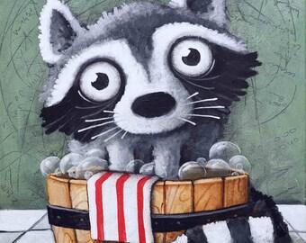 racoon, Original Painting, Ivan Glock 70x50,