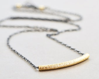 Gold Silver Necklace, Everyday Necklace, Metallic Two Tone