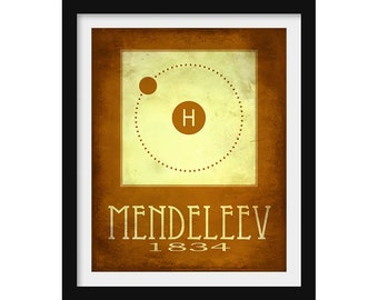 Chemistry Gift,  Periodic Table of Elements Poster, Science Decor, Chemistry Wall Art, Classroom Poster, Dmitri Mendeleev, Science Print
