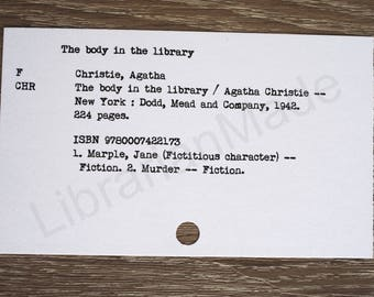 Library catalog card : The Body in the Library by Agatha Christie