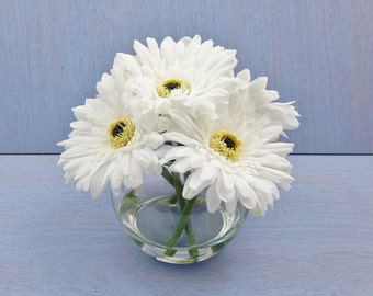 White, silk, gerbera, daisy/daisies, glass vase, faux water, acrylic/illusion, Real Touch flowers, floral arrangement, centerpiece, gift