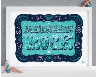 Mermaids Rock Print