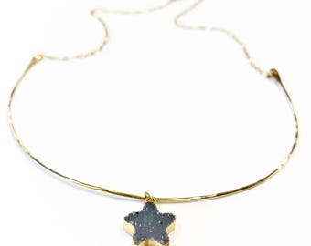 Hammered gold chokers