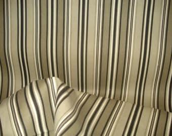 BLACK Ivory Khaki Taupe COTTON STRIPE Upholstery Fabric, 20-60-20-0911