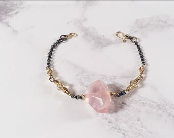 Irregular rose quartz bracelet, true love stone bracelet, heart chakra jewelry, amulet quartz jewelry, pink bracelet