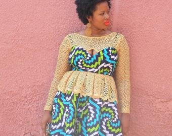 African Print Lace Peplum Blouse & Skirt