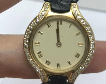 EBEL 18K Yellow Gold Ladies Watch w/ DIAMONDS & Original EBEL Black Leather Band