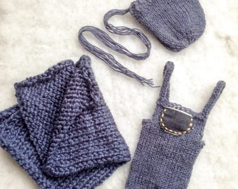 Newborn boy denim knitted dunagrees, bonnet and layer blanket set, RTS, 1 available, UK seller, photo props, baby boy outfit.