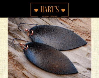 SPECIAL 2 FOR 1 SALE Dark Brown Leather and Niobium Earrings