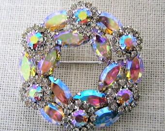 WEISS BROOCH Clear Aurora Borealis RHINESTONES Vintage Costume Jewelry Circle Pin  Silver Tone Swarovski Crystals Collectible Designer