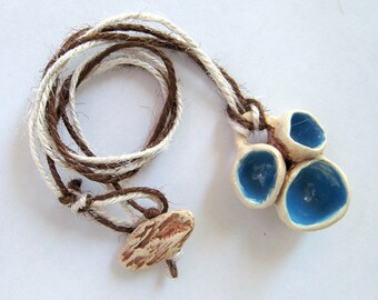 Blue and brown ceramic statement necklace.