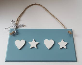 Duck Egg Blue Wall Plaque with Choice of Embellishments