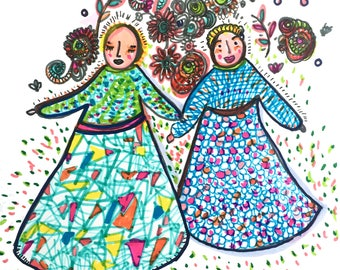 Two sisters - Mexican inspired - Flowers - Abstract Color illustration Art Print