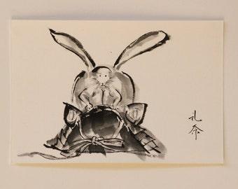Ink art drawing. All items are hand drawing Postcard. Reina Kobayashi art work  'Macho Rabbit helmet'  For children's day!!
