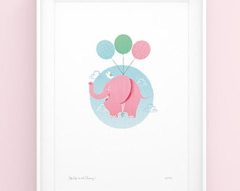 Flying Elephant Art Print - Up, Up and Away A4 (21cm x 29.7cm)