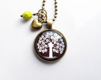 Tree of Life Necklace - Black and White - Tree Pendant -  You Choose Bead and Charm - Custom Jewelry - Stylized Tree - Family Tree