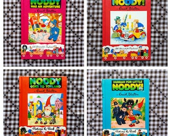 Lot of 4 Noddy All Aboard for Toyland Books by Enid Blyton - 1980's Hardcover Full Color Illustrations by Beek