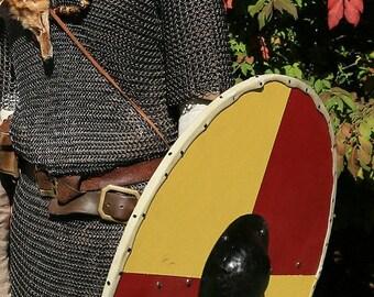 Handmade Viking Style Round Shield with Hand Hammered Boss