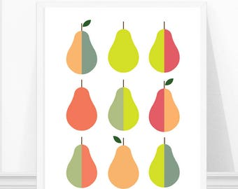 Pear Art Print, Scandinavian Kitchen Art, Pear Artwork, Kitchen Print, Fruit Art Print