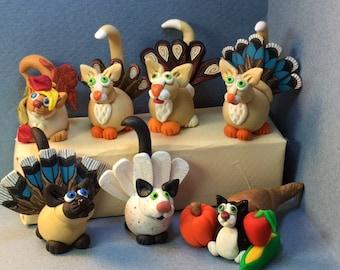 Calendar Cats, November - Thanksgiving Variety of Cats