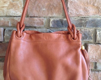 Vintage Brown Leather Shopper /  Made in Italy for Jacobson's / Leather Hobo