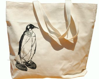 Large Beach Tote - Pengiun Wearing Snow Shoes - Screen Printed Heavy Weight Canvas Beach Bag - Animal Beach Bag - Funny Retro Hipster Hippie