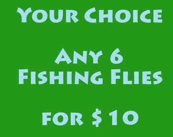 Cadeau de Noël pour hommes, femmes ou enfants - pêche à la mouche - mouche pêche mouches - votre choix - tout 6 mouches de pêche - dix dollars - m'envoyer un message moi choix
