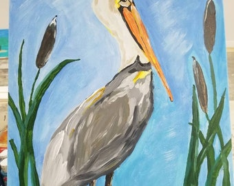 "Pelican canvas painting titled ""Dock of the Bay"" Beautiful, colorful, peaceful.  16""x20"" canvas"
