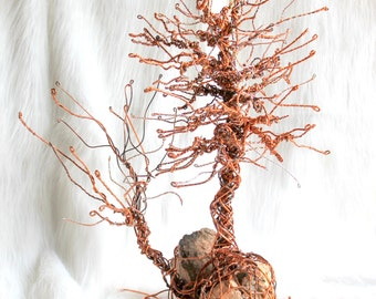 jewelry tree /  upcycled wire sculpture / desk ornament / copper sculpture / boutique storefront jewelry display