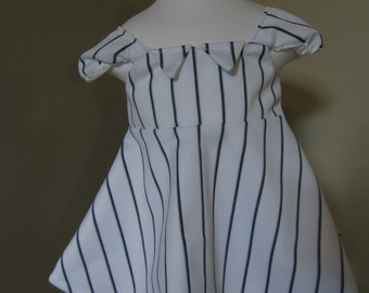 Baby's White with Navy Blue pinstripe Baseball Dress, 9-12 month size
