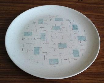 Vernonware, Heavenly Days Dinner Plate, 50s MCM Aqua & Pink Plate