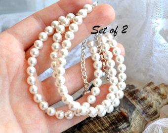 Pearl bracelet Bridesmaid gift set of 2 Simple pearl jewelry Ivory white bracelet Pearl bridesmaid bracelet Wedding jewelry Bridal bracelet