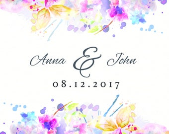 Watercolour Themed Wedding Backdrop, Custom Backdrop, Wedding Banner, Wedding Decorations, Party Decorations, Personalized Photo Booth