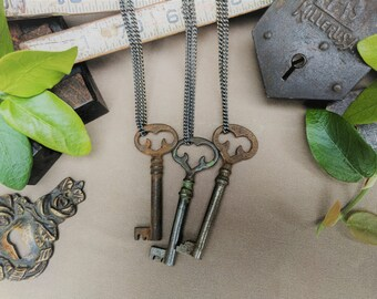 Antique Key Necklace | Ornate Furniture Key | Gunmetal Steel or Antique Brass Chain | Vintage | Steampunk | Skeleton Key | Limited #'s